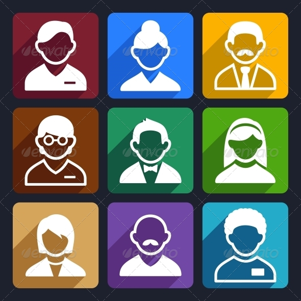User Flat Icons Set 11 - People Characters