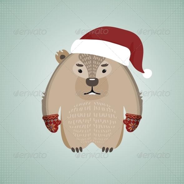 Hipster Wombat Wearing Santa's Hat - Christmas Seasons/Holidays