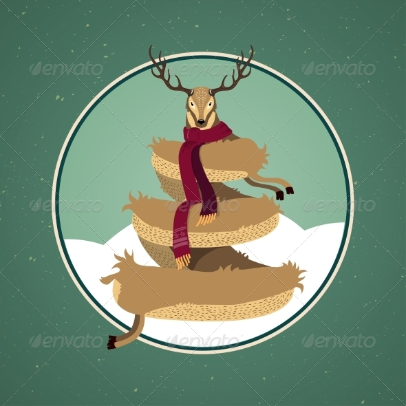 Christmas Card Design with Reindeer Tree - Christmas Seasons/Holidays