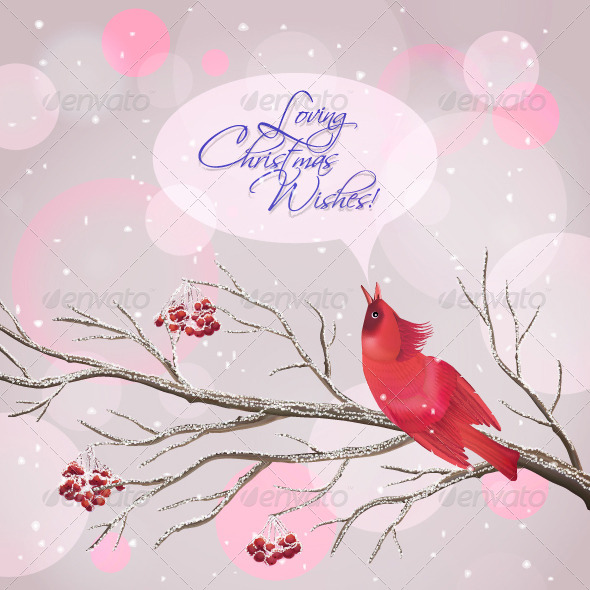 Christmas Vector Snowy Rowan Branches and Bird  - Christmas Seasons/Holidays