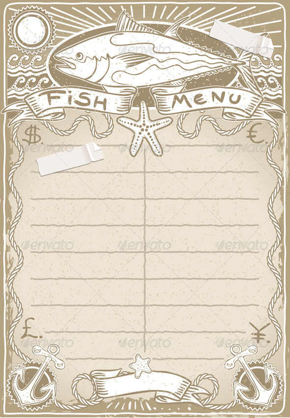 Vintage Graphic Page for Fish Menu - Food Objects