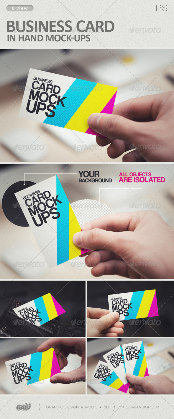 Business Card in Hand Mock-Ups by antonbildyaev | GraphicRiver