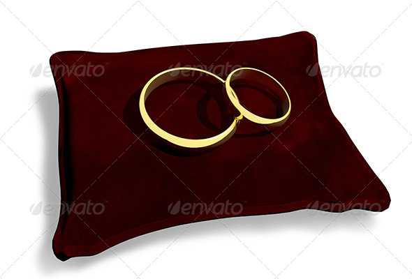 Wedding Rings on a Red Cushion - Objects 3D Renders