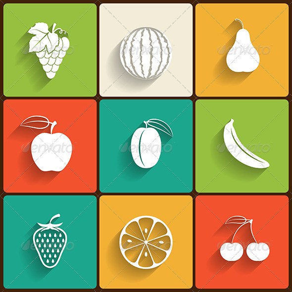 Fruits Flat Icon Set - Food Objects