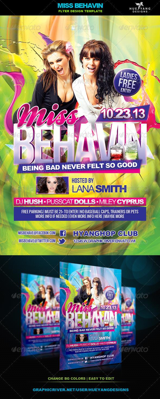 Miss Behavin Flyer - Clubs & Parties Events