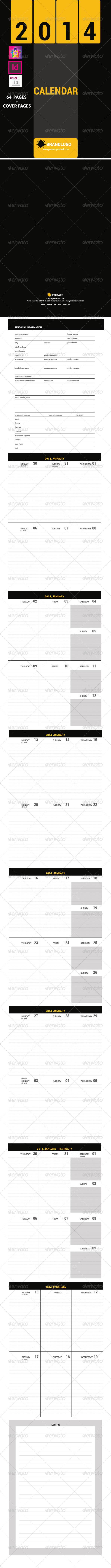 2014 Calendar Organizer Template - Calendars Stationery