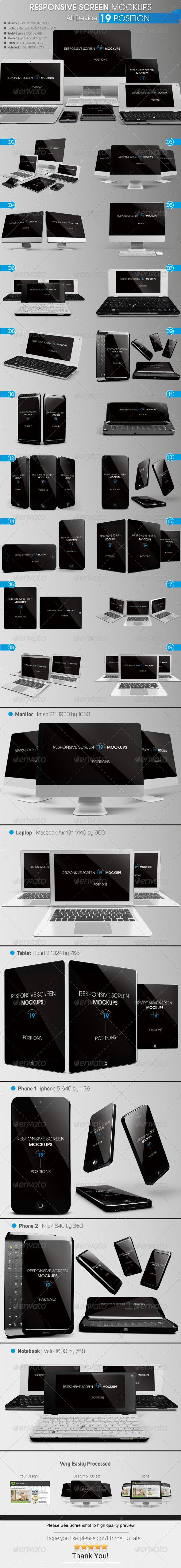 Responsive Screen Mockups - Multiple Displays
