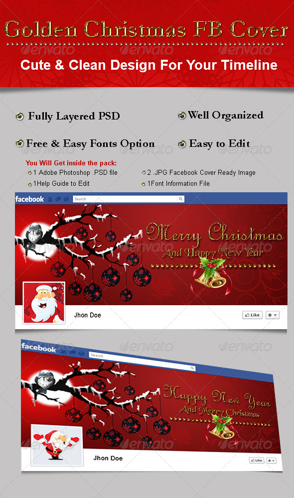 Golden Christmas FB Cover - Facebook Timeline Covers Social Media