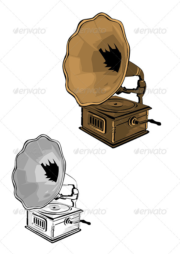 Gramophone Vector Illustration - Man-made Objects Objects