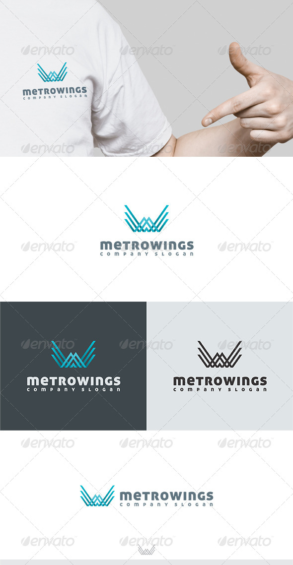 Metro Wings Logo - Letters Logo Templates