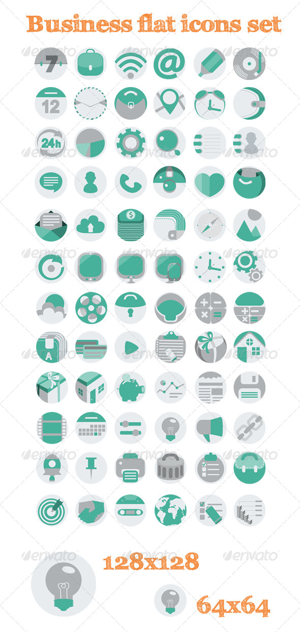 72 Business Flat Icons Set - Business Icons