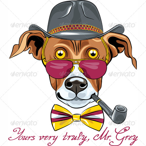 Cartoon Hipster Greyhound Dog Breed - Animals Characters