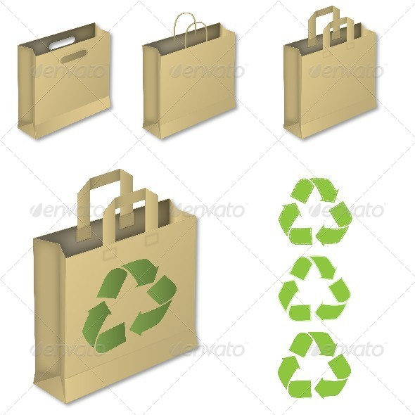 Four Brown Paper Bags with Recycle Symbol - Man-made Objects Objects