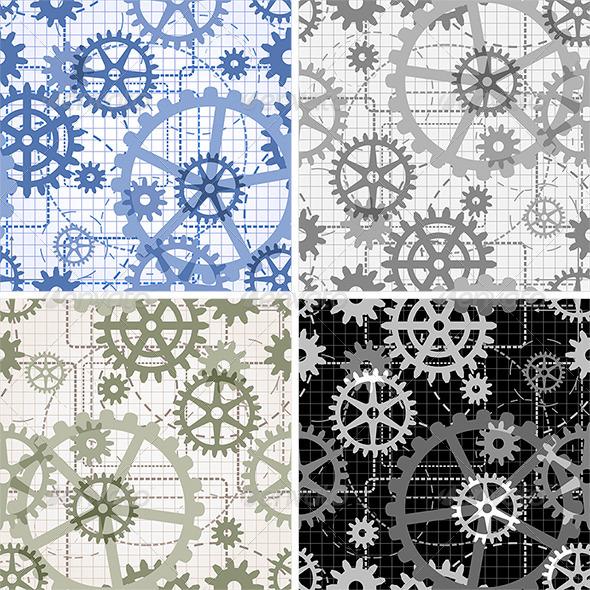 Seamless Gears Pattern - Patterns Decorative
