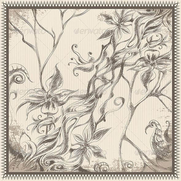 Frame with Tropical Flowers - Flourishes / Swirls Decorative