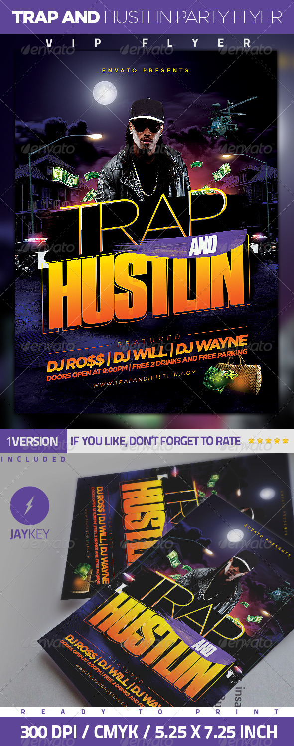 Trap and Hustlin Party Flyer - Clubs & Parties Events