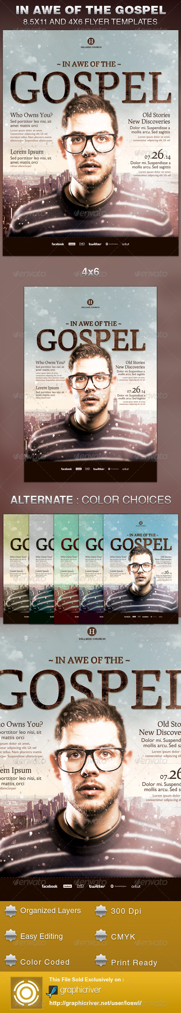 In Awe of the Gospel Church Flyer Template - Church Flyers