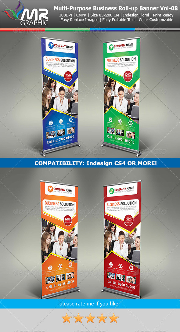Multipurpose Business Roll-Up Banner Vol-08 - Signage Print Templates
