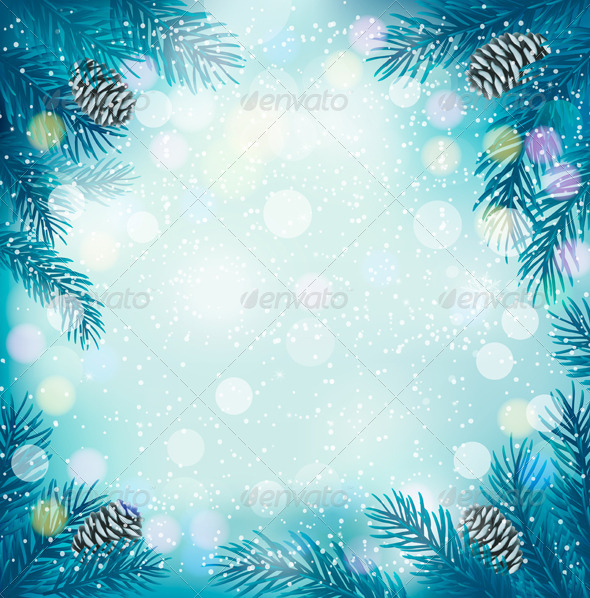 Blue Christmas Background with Tree Branches - Christmas Seasons/Holidays