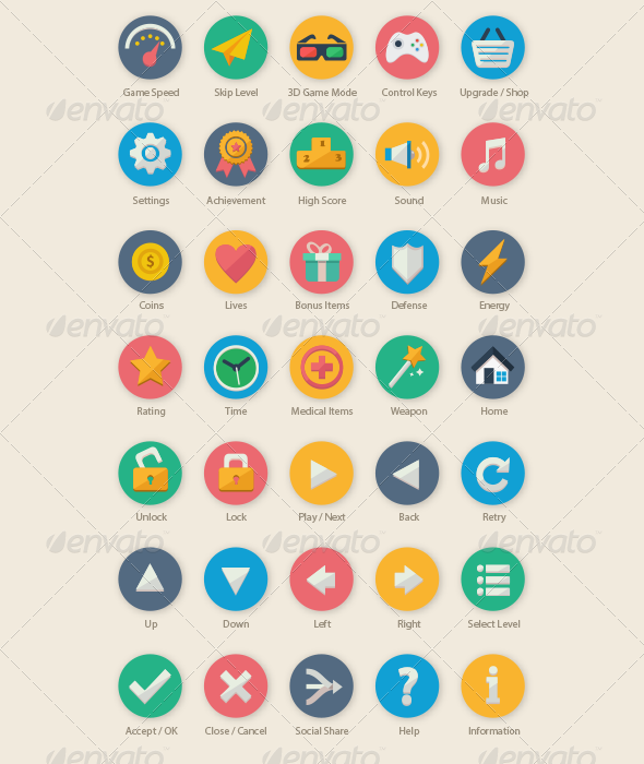 35 Cartoon Game UI Icons - Web Icons