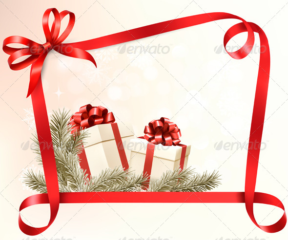 Christmas Holiday Background with Gift Ribbons - Christmas Seasons/Holidays