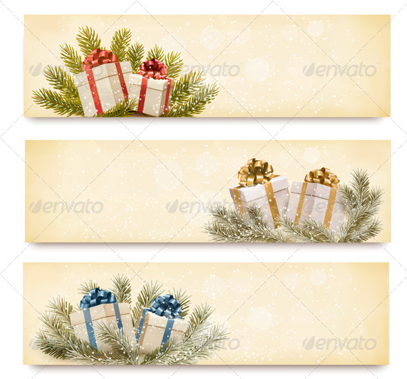 Three christmas banners with gift boxes and snowfl - Christmas Seasons/Holidays