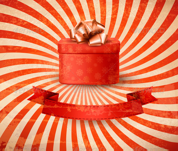 Vintage Holiday Background with Red Gift Box - Christmas Seasons/Holidays