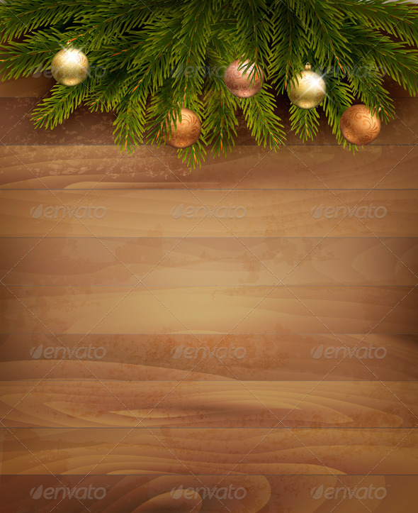 Christmas Decoration on Wooden Background - Christmas Seasons/Holidays