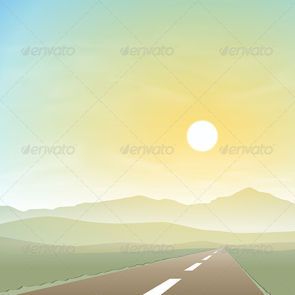 Misty Landscape with Road - Landscapes Nature