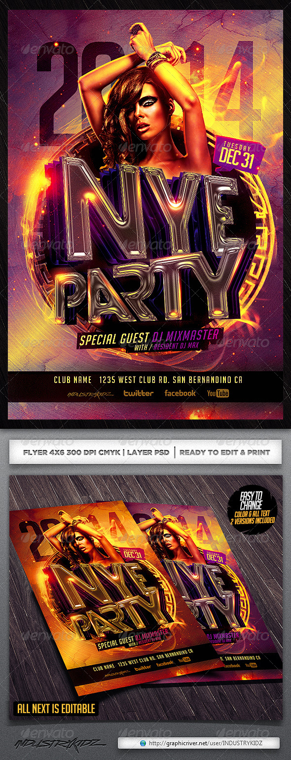 NYE Flyer Template  - Clubs & Parties Events