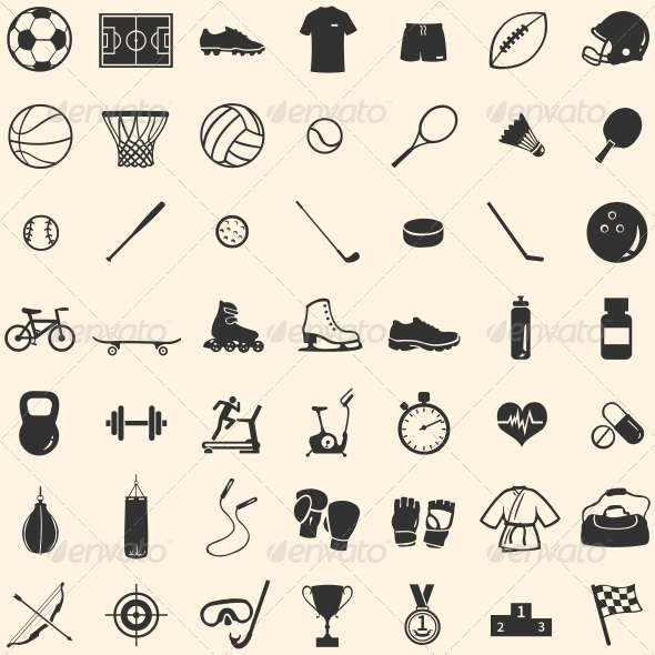 Vector Set of 49 Icons for Sports Store - Miscellaneous Icons