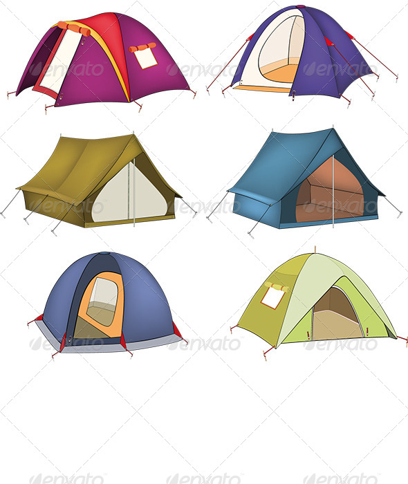 Set of Tourist Tents  - Objects Vectors