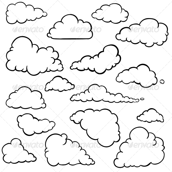 Vector Set of Outline Clouds - Seasons Nature