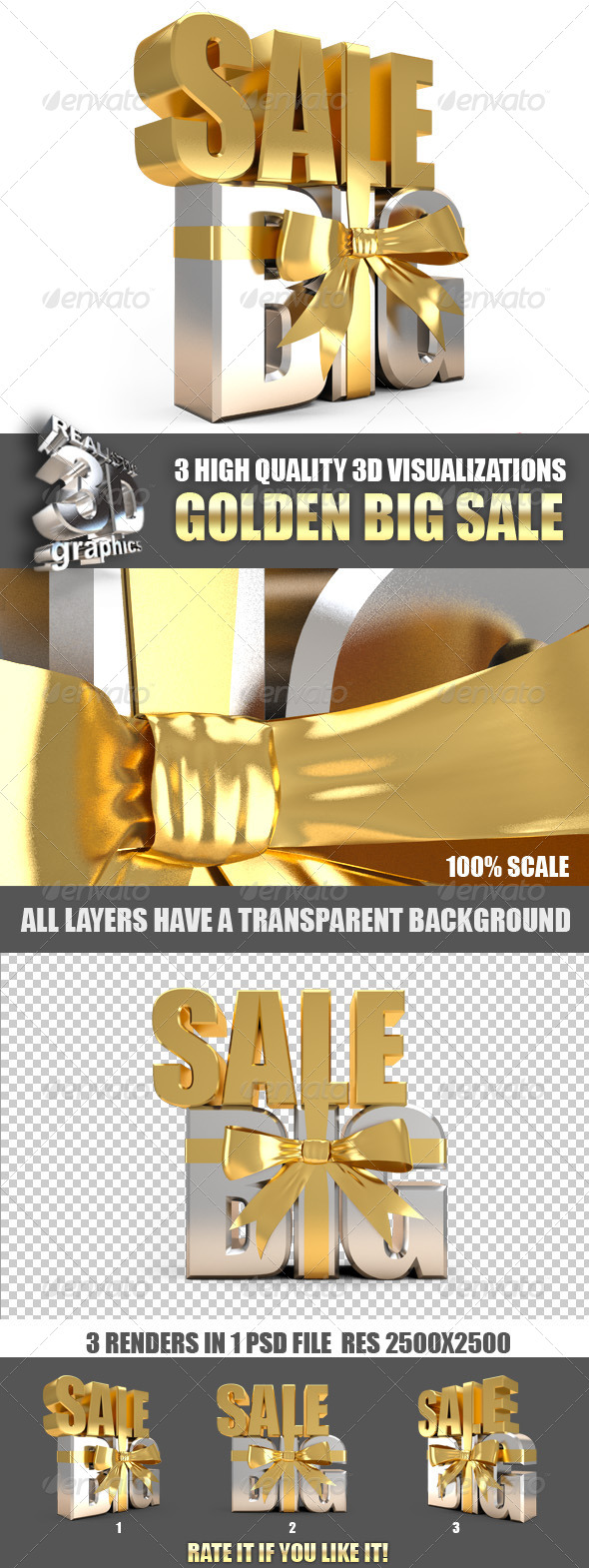 Big Holiday Sale Golden 3D - Text 3D Renders