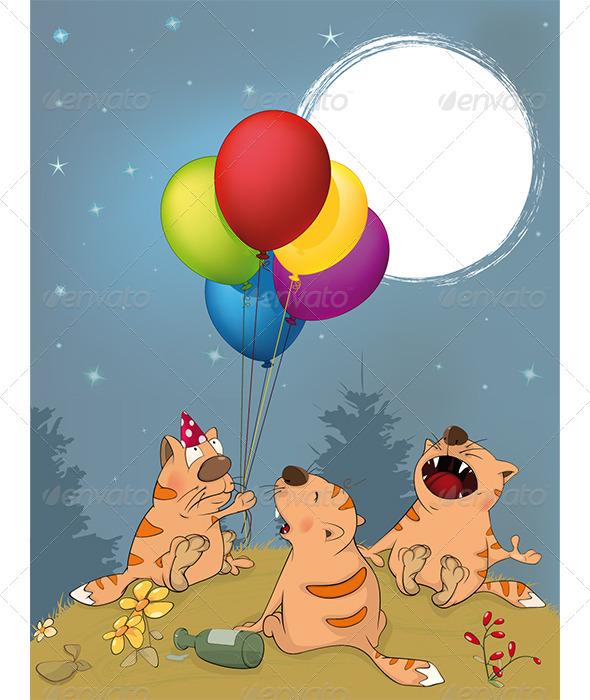 Cats Celebrates Birthday Cartoon  - Birthdays Seasons/Holidays