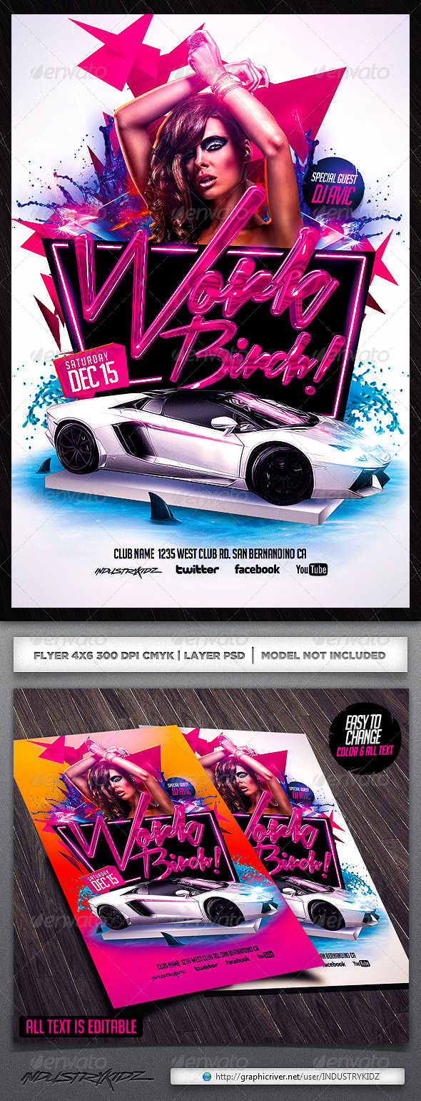Work Birch Flyer Template - Clubs & Parties Events