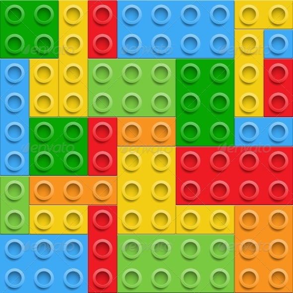 Plastic Construction Blocks Seamless Background - Backgrounds Decorative