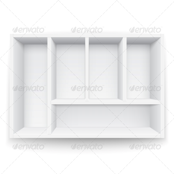 White Box with Separators. - Man-made Objects Objects