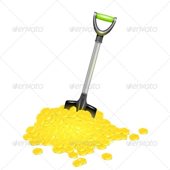 Shovel in Golden Pile. - Miscellaneous Conceptual