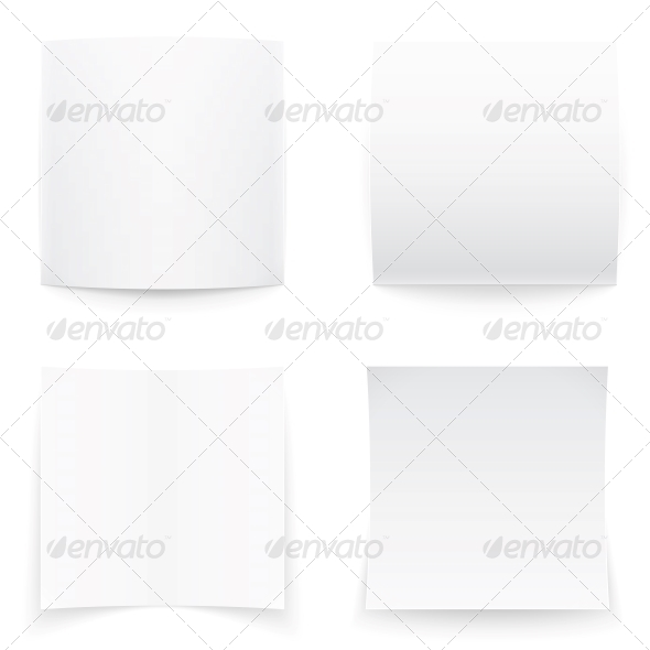 Paper Banners on White Background, Soft Shadows. - Man-made Objects Objects