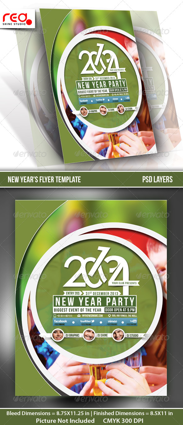 New Year's Party Flyer & Poster Template - 5 - Clubs & Parties Events