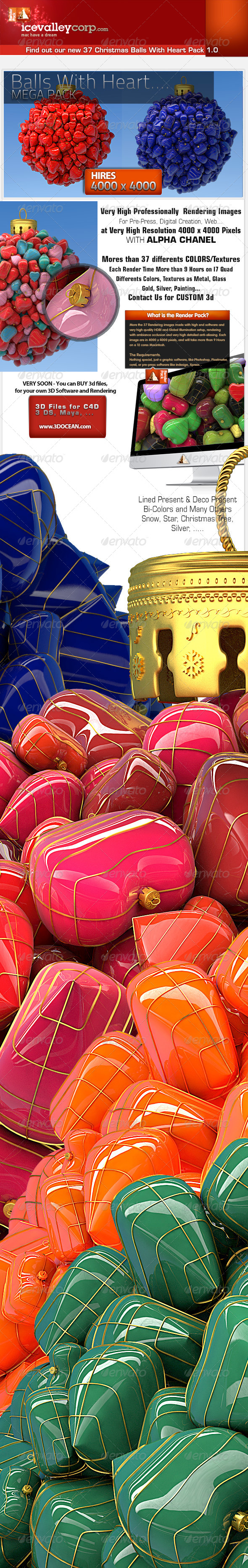37 MEGA CHRISTMAS BALLS WITH HEART IN HIRES - 3D Backgrounds