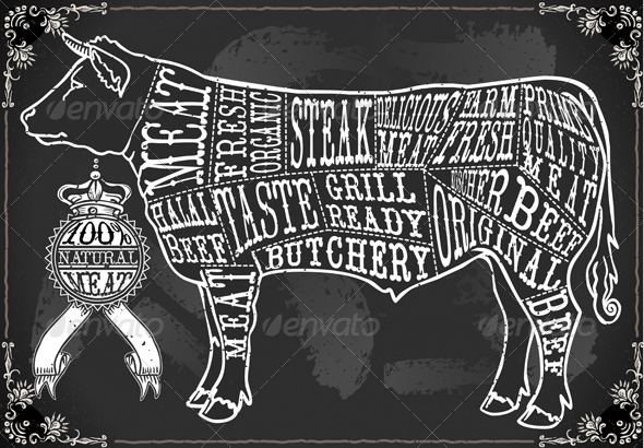 Vintage Blackboard Cut of Beef - Decorative Vectors