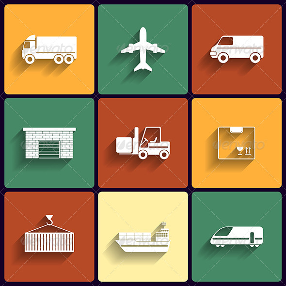 Vehicle Transport and Logistics Flat Icons - Web Elements Vectors