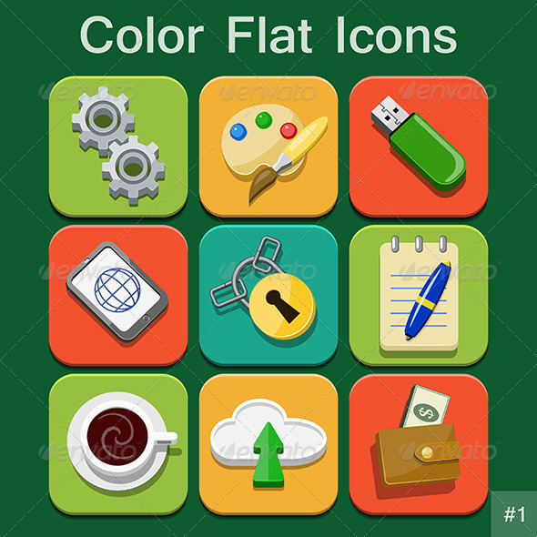 Universal Color Flat Icons - Web Elements Vectors