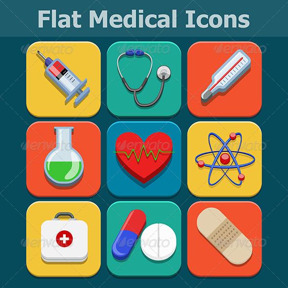 Medical Flat Color Icons Set - Health/Medicine Conceptual