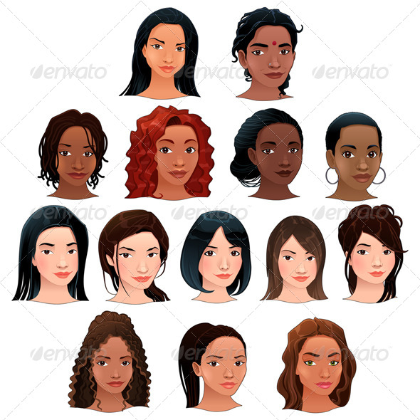 Indian, Black, Asian and Latino Women - People Characters