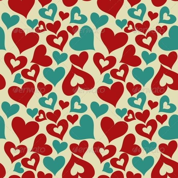 Valentine Seamless Hearts Pattern - Valentines Seasons/Holidays