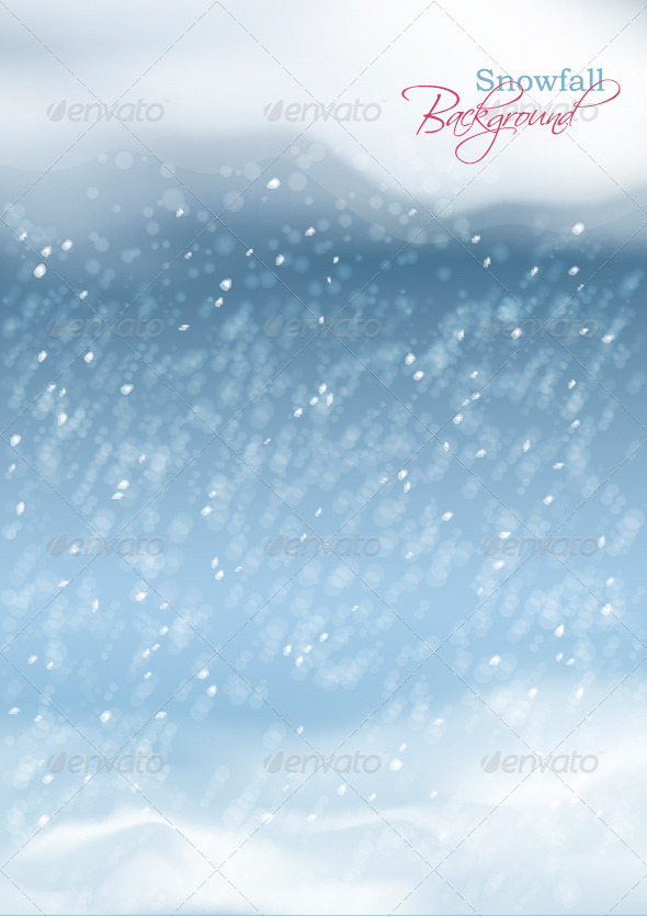 Vector Abstract Winter Snowfall Background - Seasons Nature