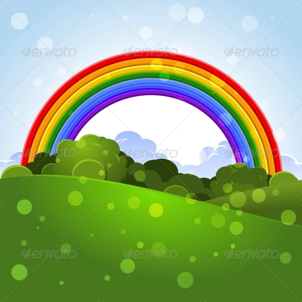 Summer Landscape with a Rainbow  - Landscapes Nature